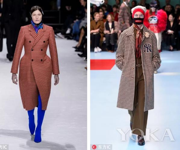 左:Balenciaga 2018秋冬秀场 右:Gucci 2018秋冬秀场 图片来源:东方IC