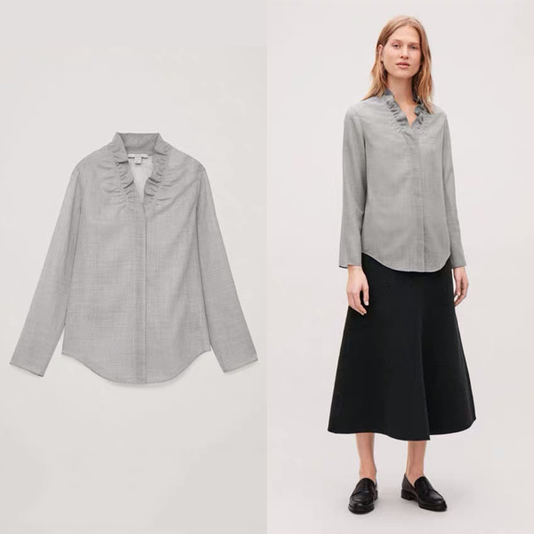 COS荷叶边领羊毛混纺女衬衫  价格约790元