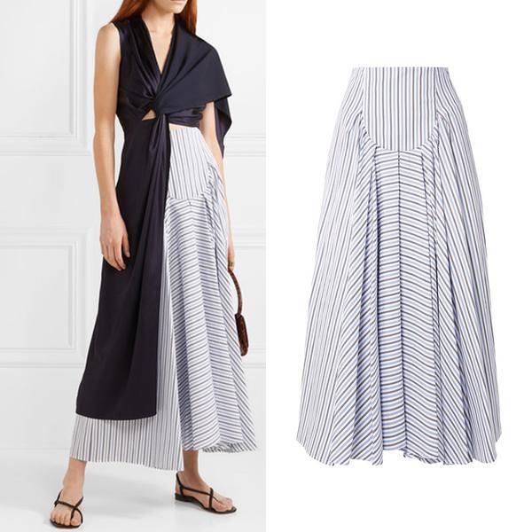 ROSETTA GETTY 条纹纯棉府绸超长半身裙7043元