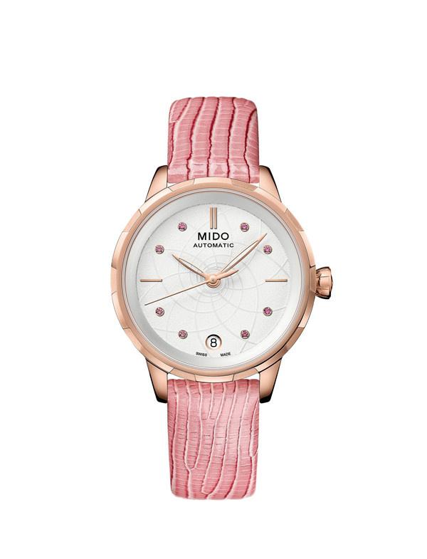 瑞士美度表RAINFLOWER花淅系列樱花粉款长动能女士腕表(图片来源于品牌)