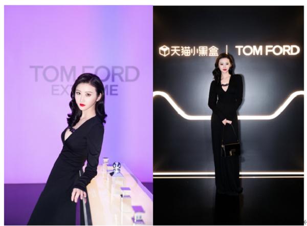 景甜身着TOM FORD黑色链条装饰连衣裙搭配中号黑色001系列手袋,尽显高挑身材